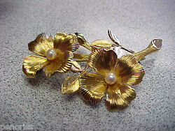 Estate And Company Flower Pin With Pearls 14k Gold Make Offer