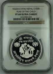 1974 Vs2031 Nepal Silver 100 Rupee Proof Coin Ngc Pf-68 Uc Year Of The Child