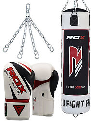 Rdx Leather Punch Bag Set Filled Boxing Gloves Chain Mma Training Kickboxing Wb
