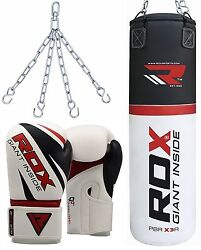 Rdx Leather Punch Bag Set Filled Boxing Gloves Chain Mma Training Kickboxing Qw
