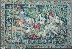 Antique Scenic French Tapestry Wool W Figures Dogs And Sheep Framed Huge 6' X 4'