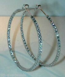 1.06ct Dia Hoops-1 1/2 Inches-inside And Outside-18k Wg