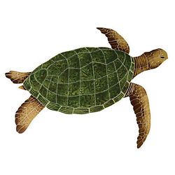 Mosaic Sea Turtles For Swimming Pool Or Wall 2 Color And 3 Size Choices 12-35