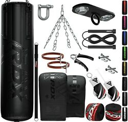 Rdx Punch Bag Filled 13pc Boxing Set Heavy Mma Punch Training Gloves 4ft 5ft