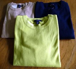 Land's End 100% CASHMERE 2-PLY LS Jewel Nk Tee Top Sweater LS Petite