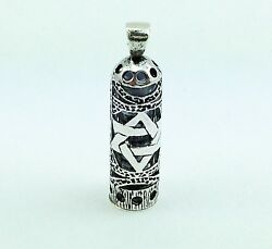 925 Sterling Silver Mezuzah Magen David Star Pendant And Parchment Scroll Judaica
