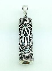 925 Sterling Silver Mezuzah Hamsa Pendant Necklace With Parchment Scroll Judaica