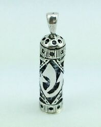 925 Sterling Silver Mezuzah Shin Pendant Necklace With Parchment Scroll Judaica