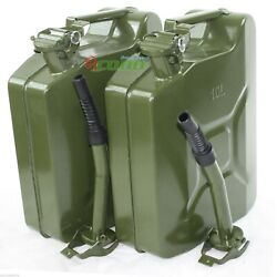 Lot 2 10l 2.5 Gallon Jerry Can Gas Steel Tank Green Military Nato Style