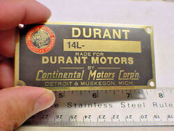 Durant Acid Etched Brass Motor Number Plate 1924 - 1929 Continental Motors