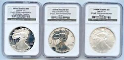 2006 20th Anniv. Silver Eagles, 3 Piece Set, Ngc Graded 69s