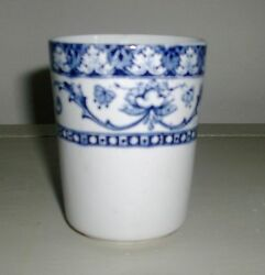 Antique Fenton England Flow Blue And White Pottery Vase Cup Glass Minion Pattern