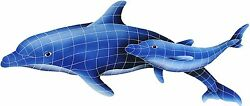 Mosaic Dolphin Pair For Swimming Pool Or Wall - Large - Free Shipping