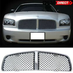 Fits 05-10 Dodge Charger Chrome Mesh Front Bumper Grille Hood Grill Guards