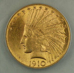 1910 10 Indian Gold Eagle Coin Anacs Ms-60 Details Cleaned