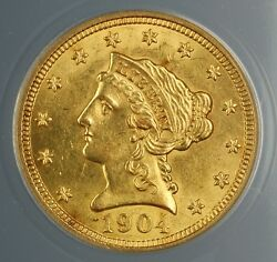 1904 2.50 Liberty Quarter Eagle Gold Coin Anacs Ms-61