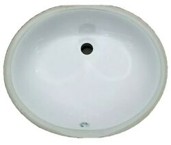 Set Of 2 White Oval Undermount Vanity Sinks With Overflow - 17 X 14 Bowl