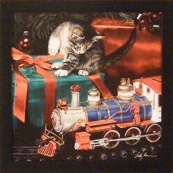 The Holiday Express By Lesley Harrison 17x17 Christmas Cat Framed Art Picture