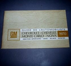 1970 Chevelle Ss Factory Original Gm Canadian French Edition Owners Manual
