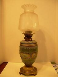 Beautiful Victorian Hinks And Sons Ceramic Oil Banquet Lamp, Original Glass Shade