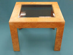 Chic 70s Milo Baughman Era Burl Wood And Brass Trim Coffee Table By Thomasville