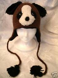 Delux Dog Hat Knit Ski Cap Adult Mens Womens For Humans Beanie Trench Coat Brown