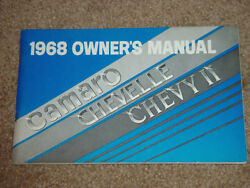 1968 Chevelle Ss Gm Factory Original Owners Manual First Edition Aug.1967 Print