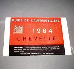 1964 Chevelle Ss Factory Gm Original Owners Manual French Print Mint Condition