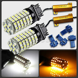 3157 Dual Color Switchback WhiteAmber LED Turn Signal Light Bulbs + Resistor 1L