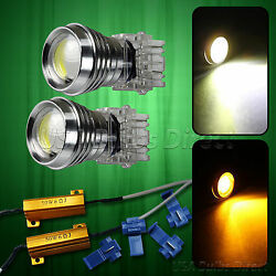 8W 3157 Dual Color Switchback WhiteAmber LED Turn Signal Corner Light Bulbs