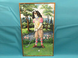 Huge Lady Cocker Spaniel Golfer Painting By Scott Early-mi Collection 1972 60