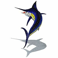 Mosaic Marlin W/ Shadow For Swimming Pool Or Wall - 92 X 56 - Free Shipping