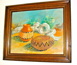 Navajo Original Framed Oil Painting By Alex Yazzie Collectible Native American
