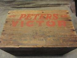 Vintage Wooden Peters Victor Ammo Box Crate Antique Gun Hunting Rifle 8757