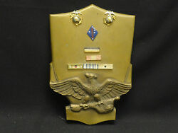 Rare Bronze Wall Plaque W/ Usmc Us Marine Corps Sterling Eagle Globe Pin And Medal
