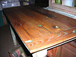 Antique Hand Crafted American Chestnut Wood Primitive Country Farm Table