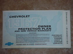 1967 Chevelle, El Camino Factory Gm Original Owners Protection Plan Booklet