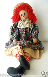 Beautiful Hand Made Raggedy Ann Doll Primitive Vintage Floral Dress 30