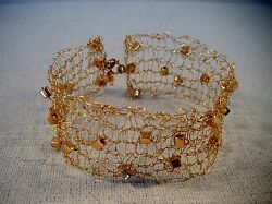 Hand Knitted 14kt Gold Bracelet With Gold Seed Beads, Handmade,unique, Gold,14k