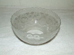 Antique Frosted Etched Glass Gas Oil Lamp Light Globe Shade With English Lions
