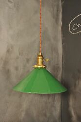 Vintage Industrial Pendant Light With Green Enameled Steel Lamp Shade