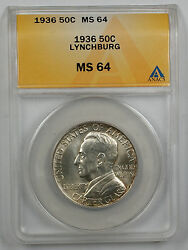 1936 Lynchburg Silver Half Commemorative Coin Anacs Ms-64 Better Lightly Toned