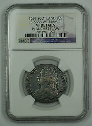 1695 Scotland 20s Shilling Silver Coin S-5686 William Ii Ngc Vf Details Flaw Akr