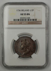 1736 Ireland Regal Copper 12 Penny Coin George II NGC AU 55 BN Brown AKR