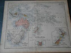 1860 Colored Antique Map Oceania Australia New Zeland Engraved By Johnston