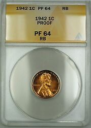 1942 Proof Lincoln Wheat Cent 1c Anacs Pf-64 Rb Red-brown Better Coin