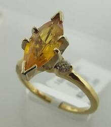 14kt Yellow Gold 2.11 Cttw Yellow Sapphire Diamond Ring Size 7.5 25r 160-10594