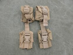 Usmc Molle Ii Hand Grenade Pouches, Coyote Brown Lot Of Four 4 Very Good