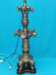 Vintage Marbro Lighting Co Metal Pewter Table Lamp With Wood Base 39 Rare