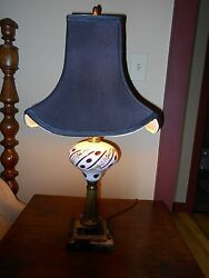 Antique Vintage Late 1800's Electrified Oil Lamp, Case Glass Cut To Cranberry
